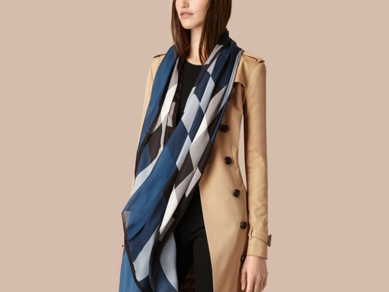 Lightweight Check Silk Scarf Cadet Blue - cell image 1