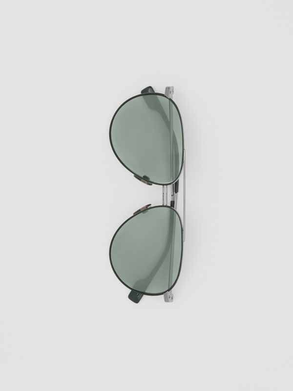 Top Bar Detail Pilot Sunglasses in Gunmetal/dark Green - Men | Burberry - cell image 3