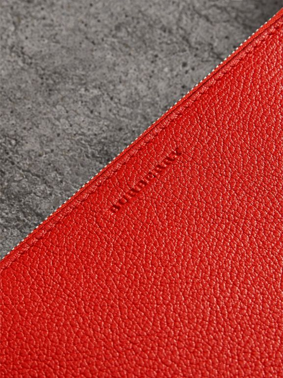 Triple Zip Grainy Leather Crossbody Bag in Bright Red - Women | Burberry United Kingdom - cell image 1
