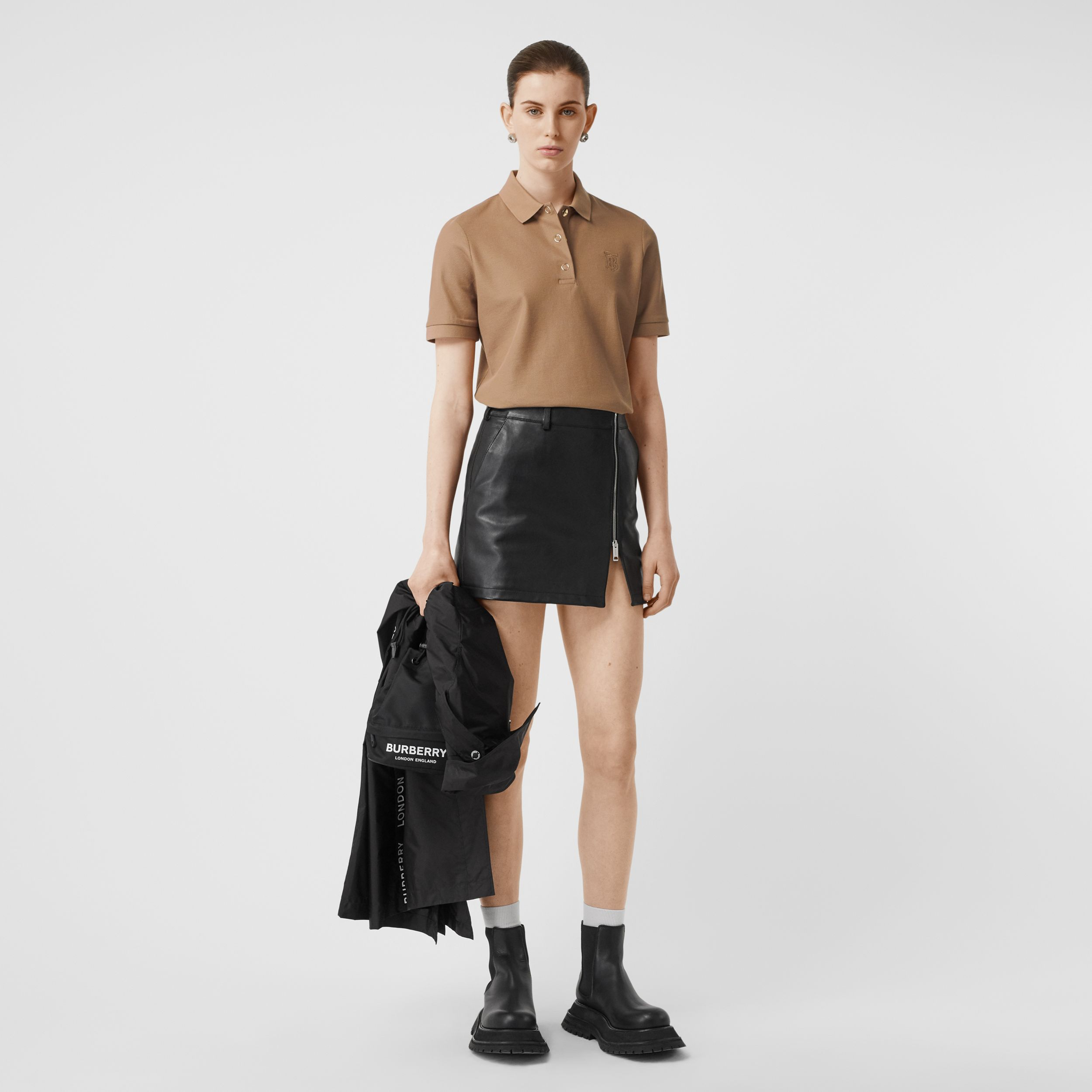 Monogram Motif Cotton Piqué Polo Shirt in Camel - Women | Burberry Singapore - 1
