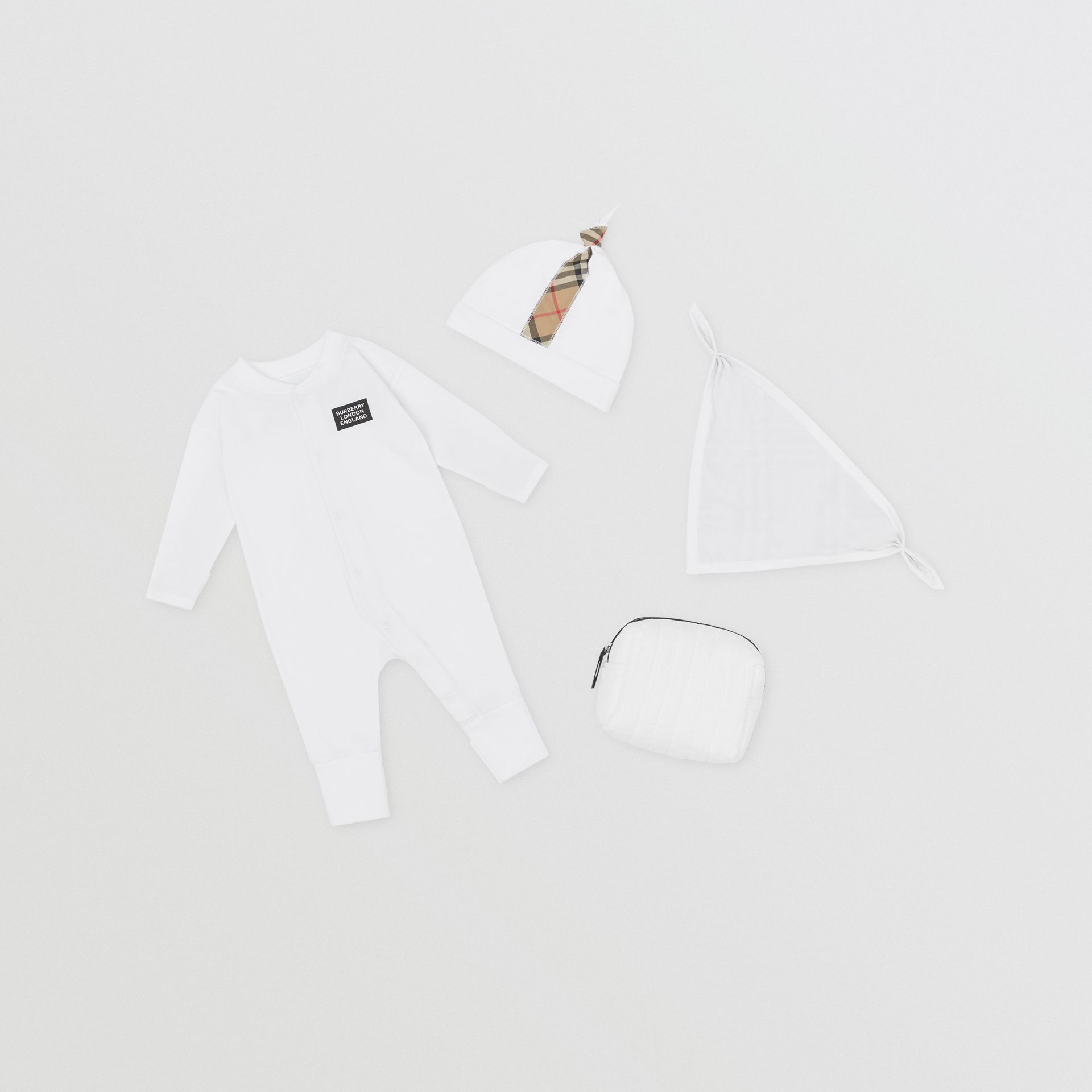 Check Trim Organic Cotton Three-piece Baby Gift Set in White - Children | Burberry United Kingdom - gallery image 0