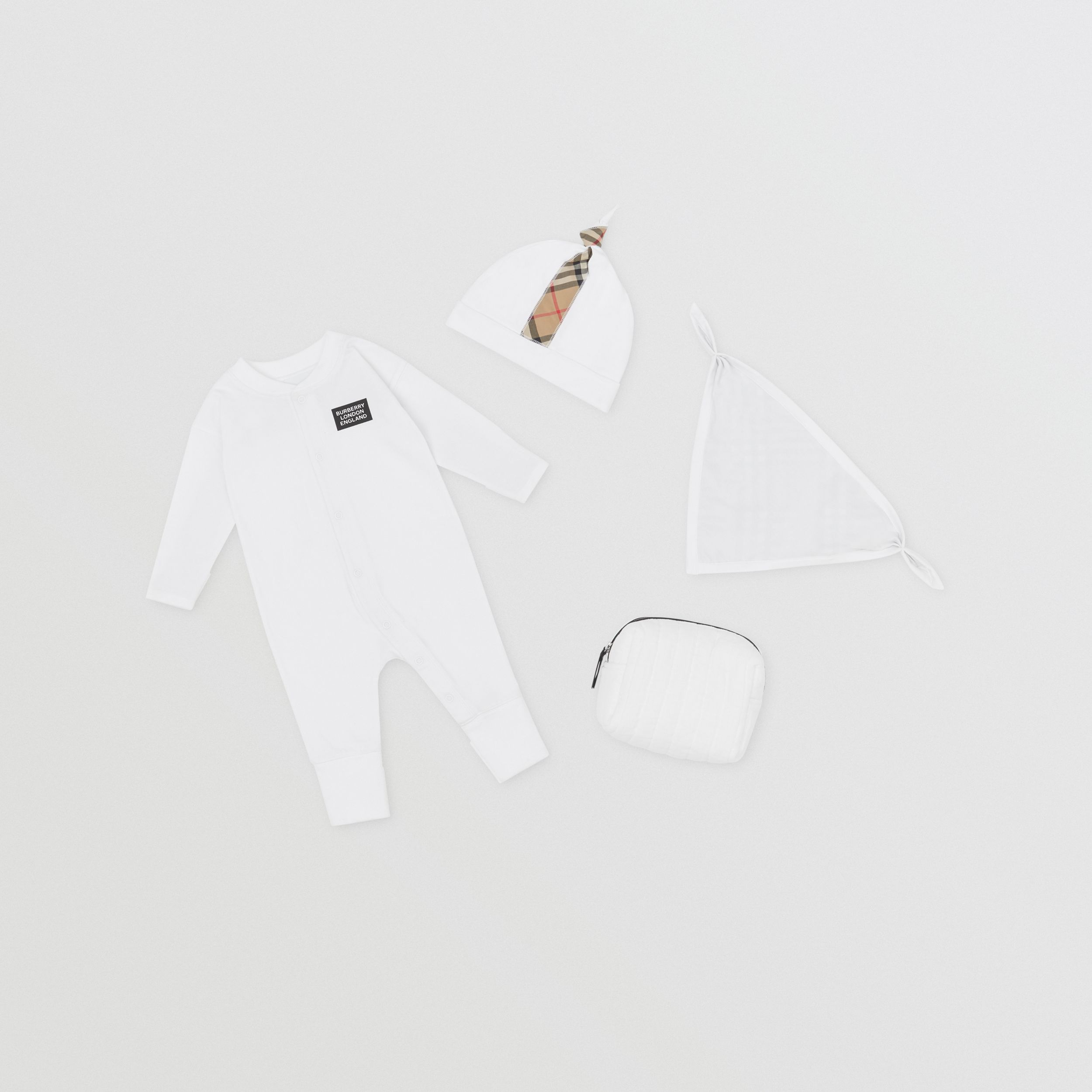 Check Trim Organic Cotton Three-piece Baby Gift Set in White - Children | Burberry - 1