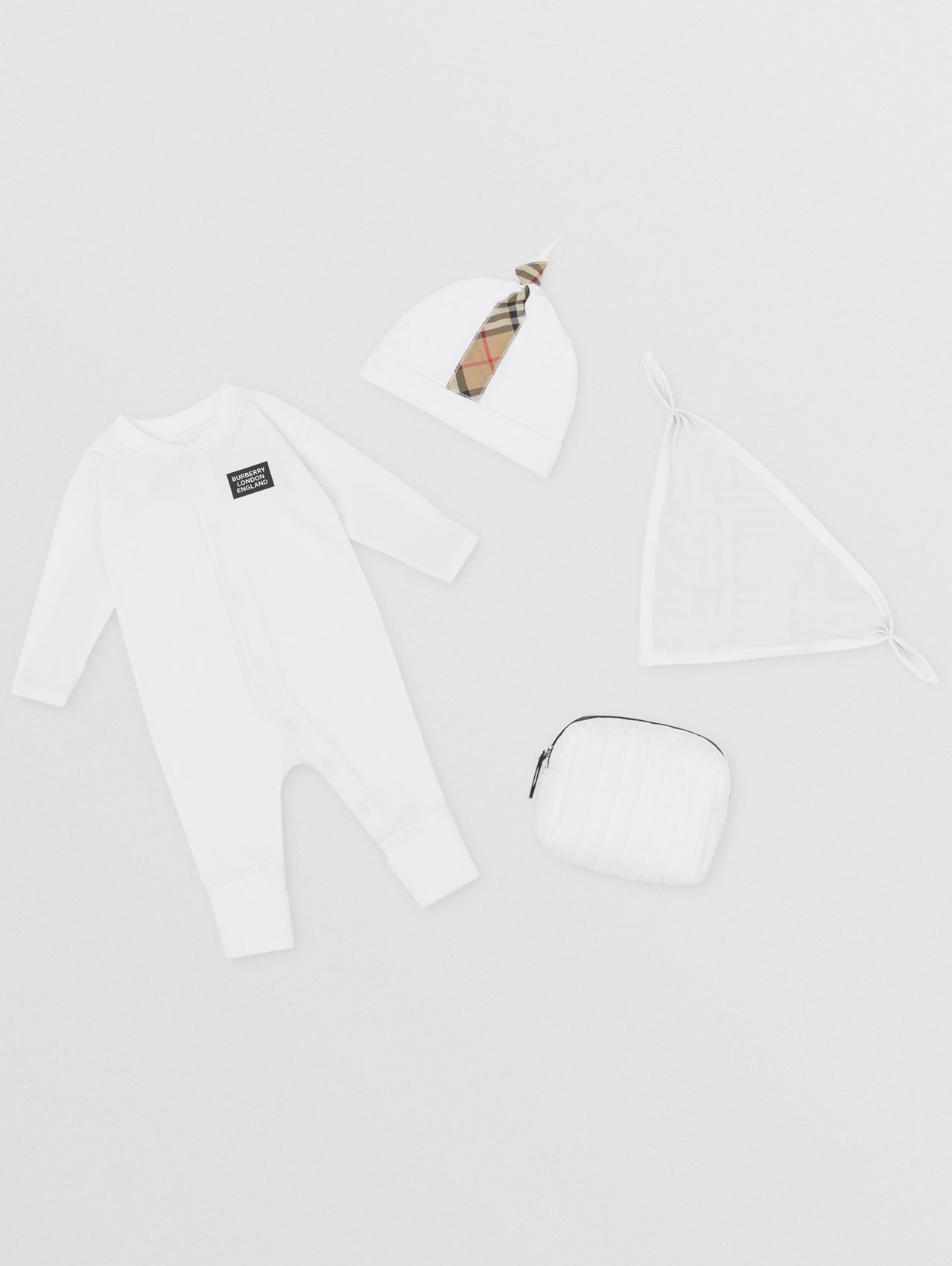 Check Trim Cotton Three-piece Baby Gift Set in White