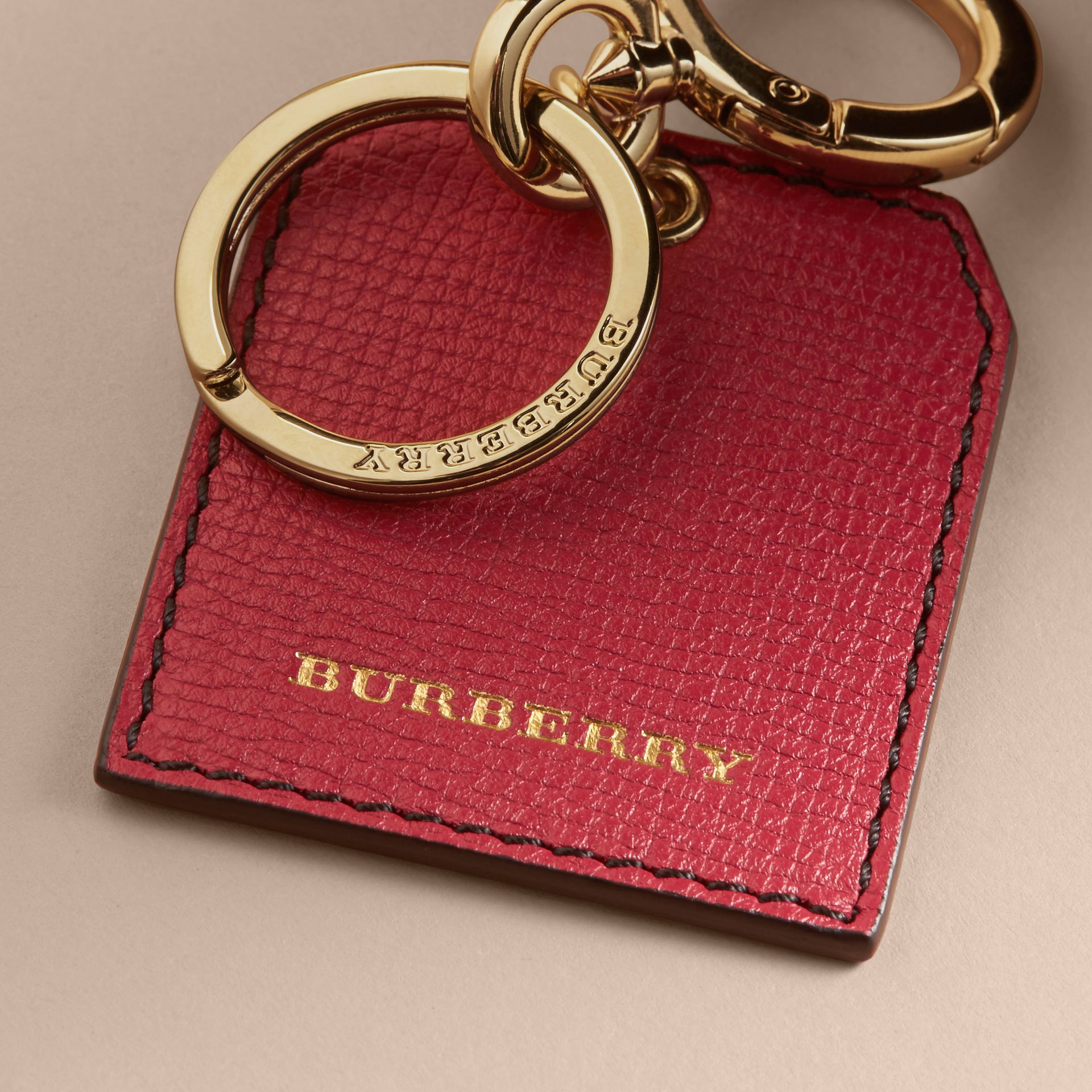 Leather Key Charm in Parade Red - Women | Burberry - gallery image 2