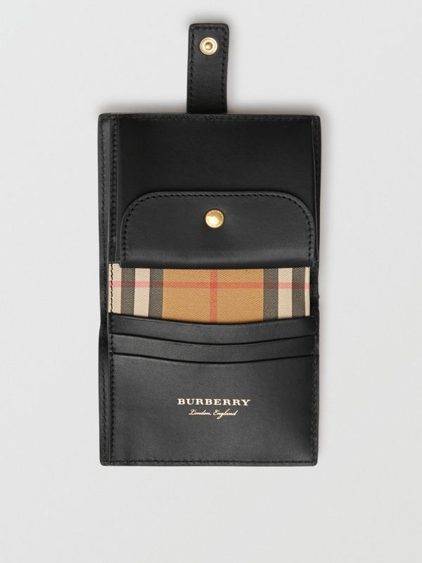 Small Vintage Check and Leather Folding Wallet in Black - Women | Burberry - cell image 3