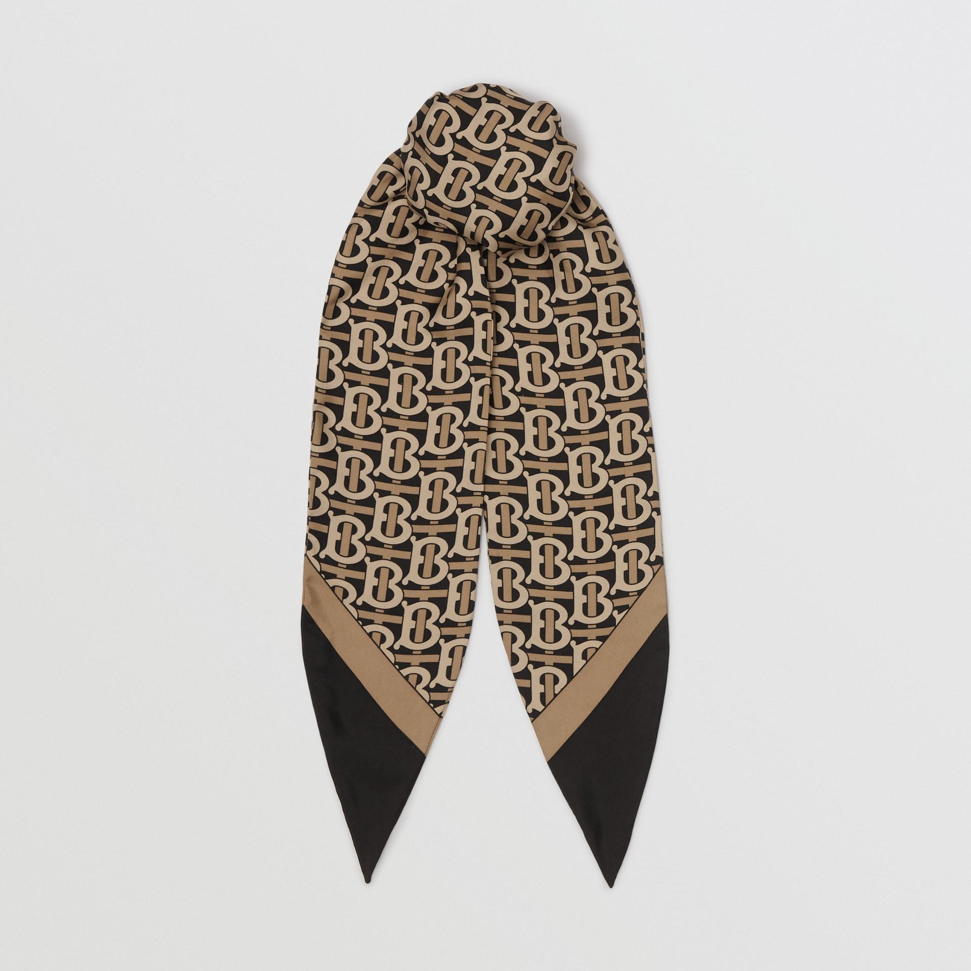 Bandana en seda con estampado de monograma (Negro) - Mujer | Burberry - imagen de la galería 0