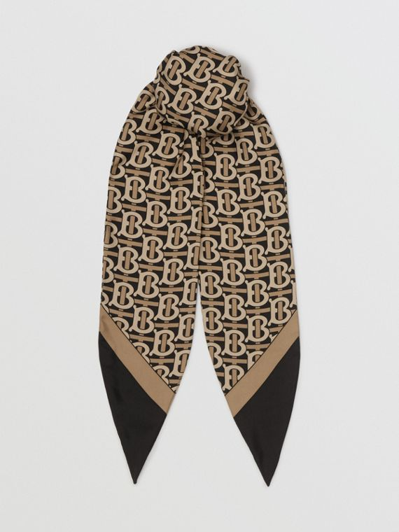 Monogram Print Silk Hair Scarf in Black