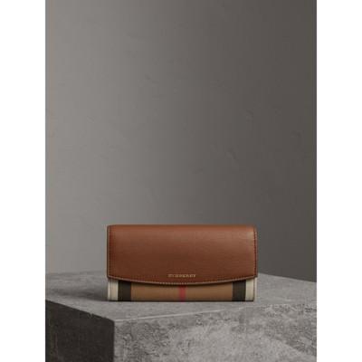 Burberry - Portefeuille continental en coton House check et cuir - 5