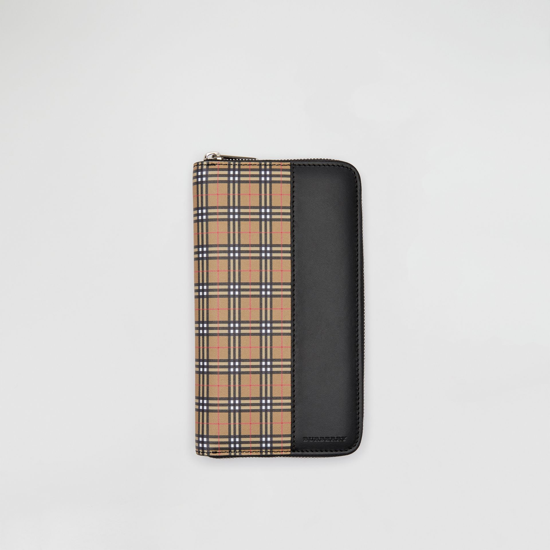 Small Scale Check and Leather Ziparound Wallet in Antique Yellow/black - Men | Burberry Singapore - gallery image 0