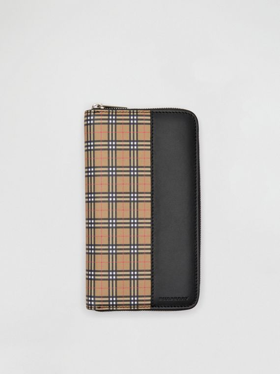 Small Scale Check and Leather Ziparound Wallet in Antique Yellow/black