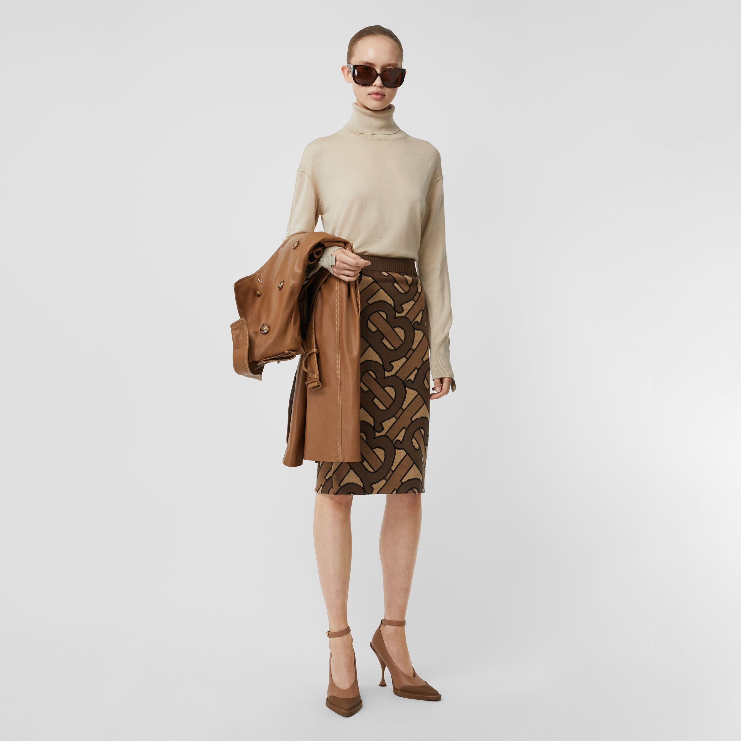 Monogram Intarsia Wool Pencil Skirt in Bridle Brown - Women | Burberry - 1