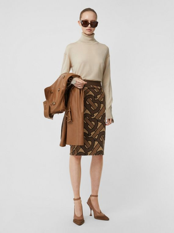 Monogram Intarsia Wool Pencil Skirt in Bridle Brown