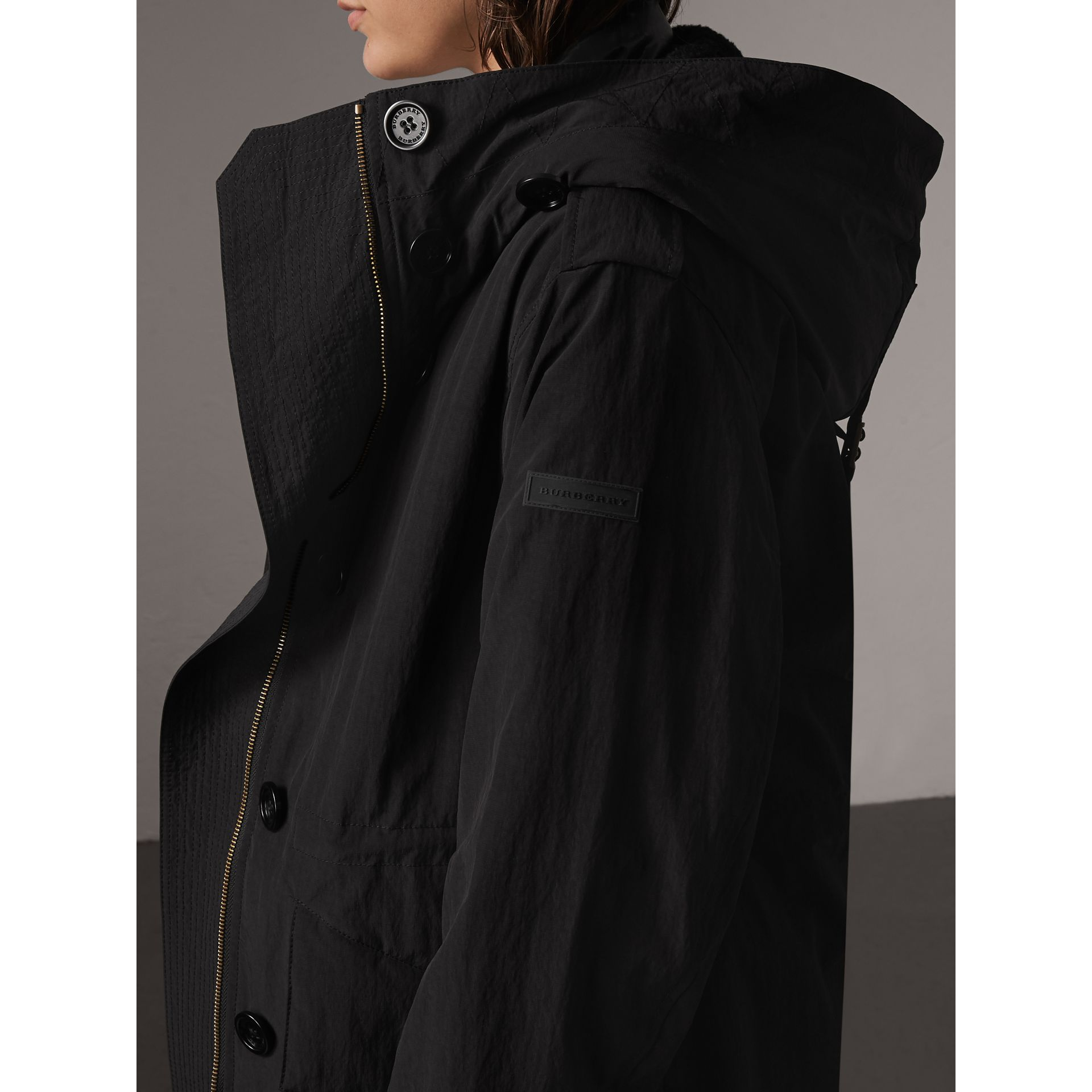 Raccoon Fur and Shearling Trim Parka with Warmer in Black - Women | Burberry - gallery image 1