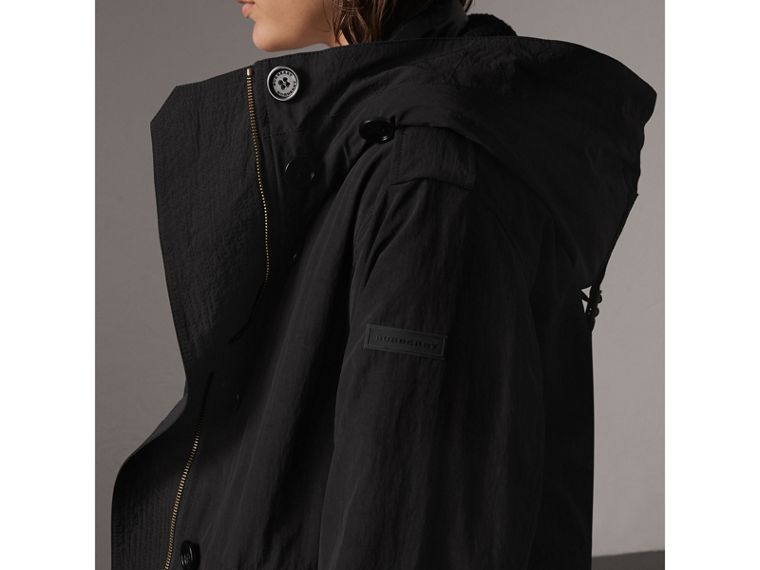 Raccoon Fur and Shearling Trim Parka with Warmer in Black - Women | Burberry - cell image 1