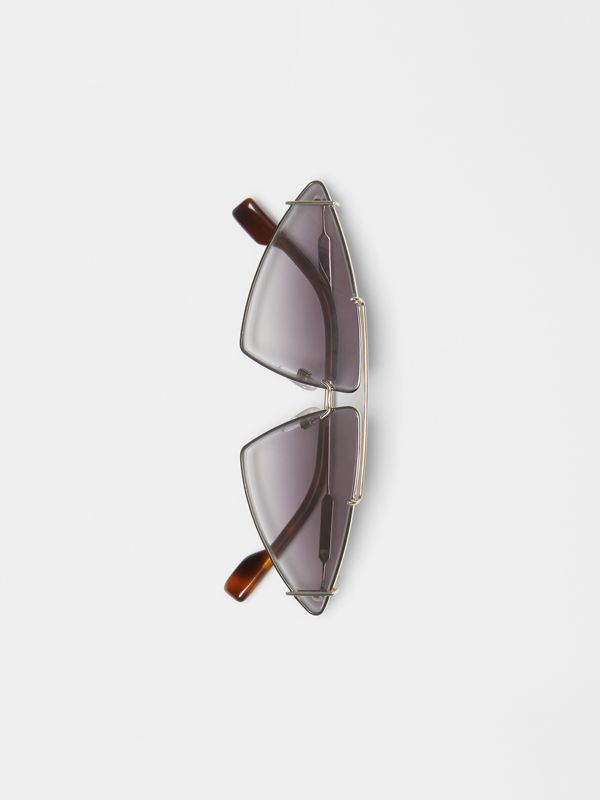 Gold-plated Triangular Frame Sunglasses in Black - Women | Burberry - cell image 3