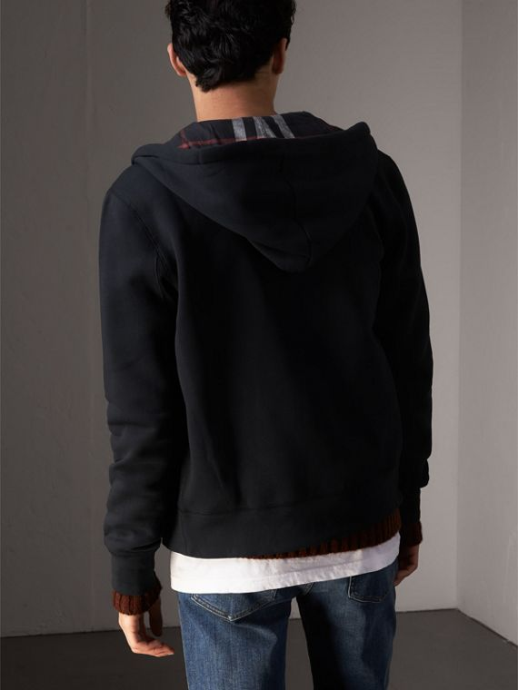 Hooded Cotton Jersey Top in Navy - Men | Burberry - cell image 2