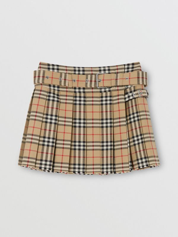 Vintage Check Wool Twill Kilt in Archive Beige - Women | Burberry United Kingdom - cell image 3