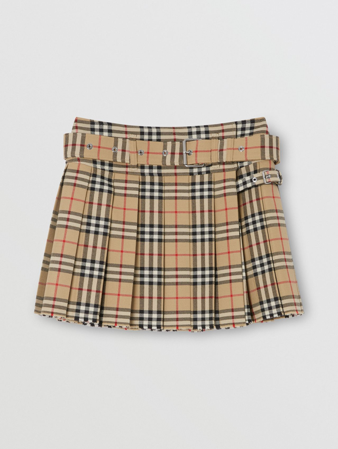 Vintage Check Wool Twill Kilt in Archive Beige