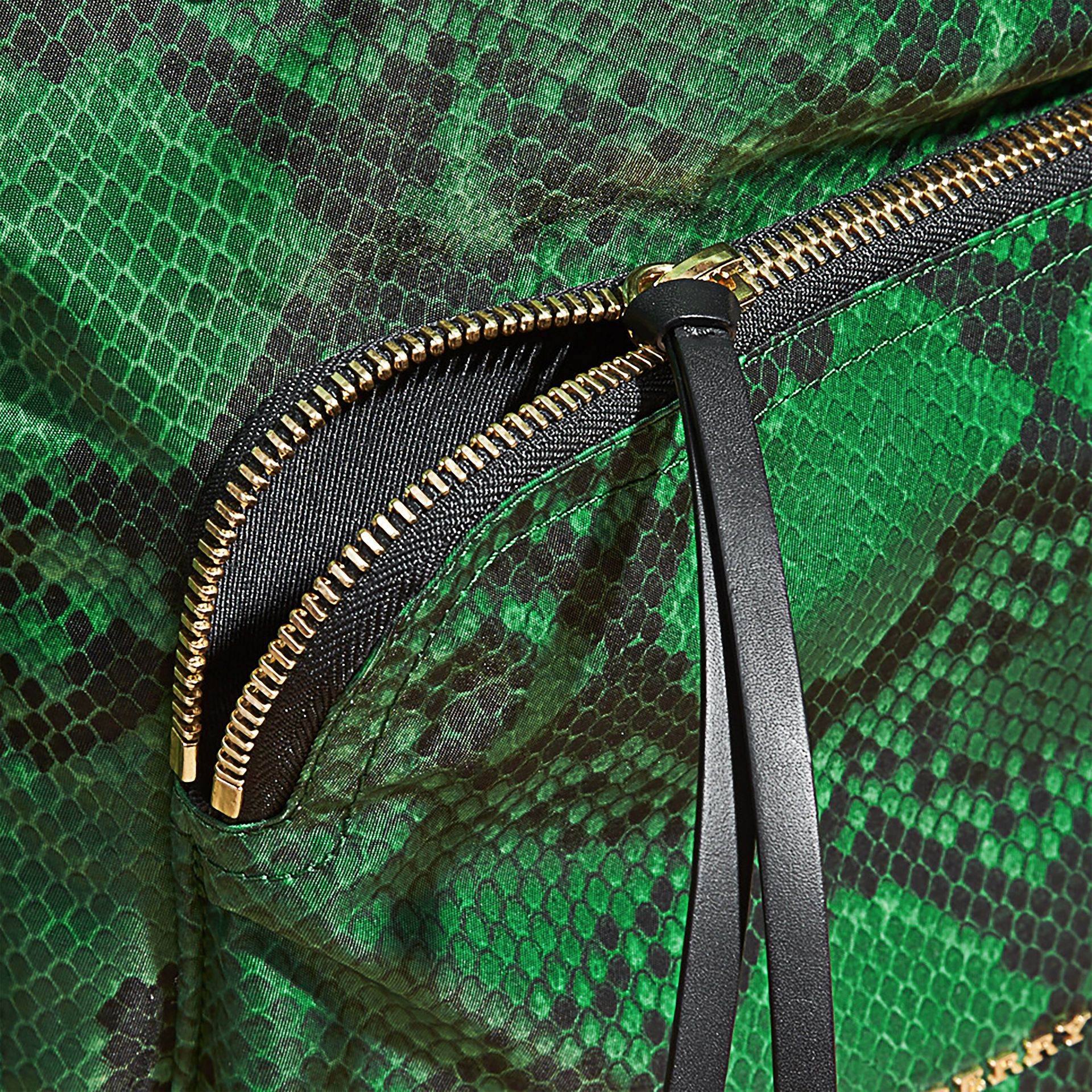 Green The Large Rucksack in Python Print Nylon and Leather Green - gallery image 6