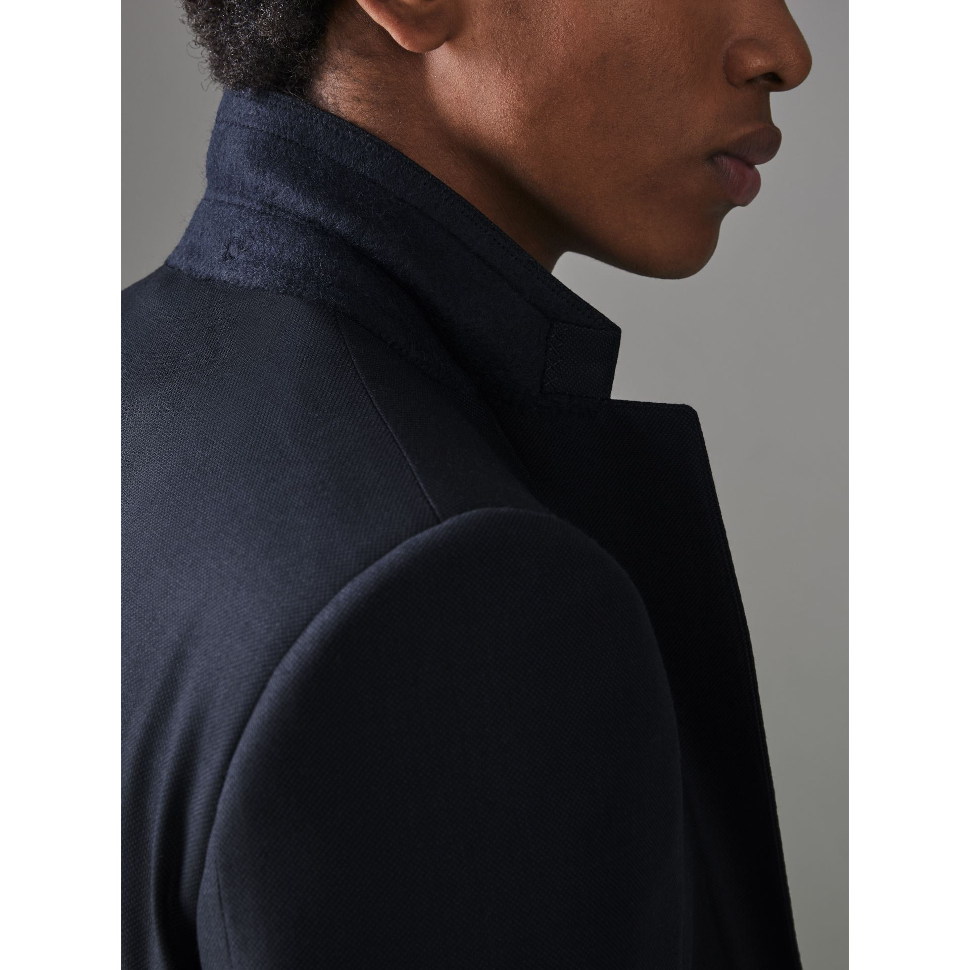 Slim Fit Birdseye Wool Suit in Navy - Men | Burberry - gallery image 5