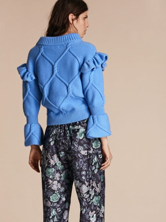 Hydrangia blue Ruffle-sleeved Cable Knit Wool Cashmere Sweater - cell image 2