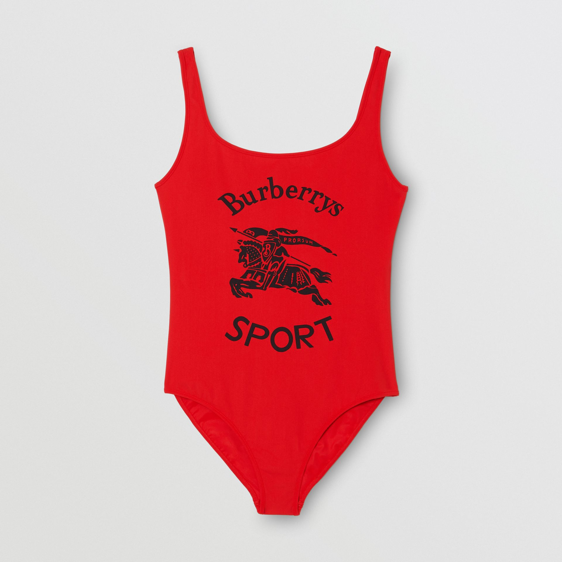 Archive Logo Print Swimsuit in Bright Red - Women | Burberry - gallery image 2