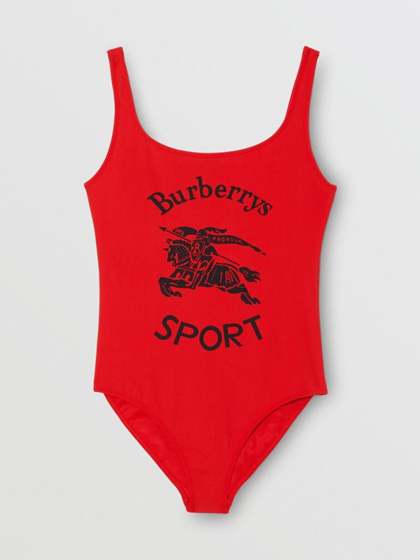 Archive Logo Print Swimsuit in Bright Red - Women | Burberry - cell image 2