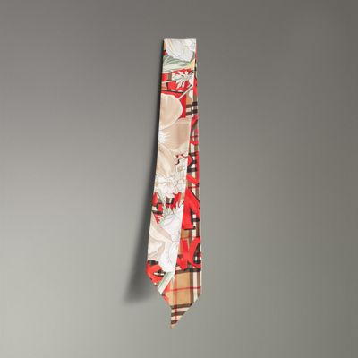 Graffiti Archive Scarf Print Silk Slim Scarf by Burberry
