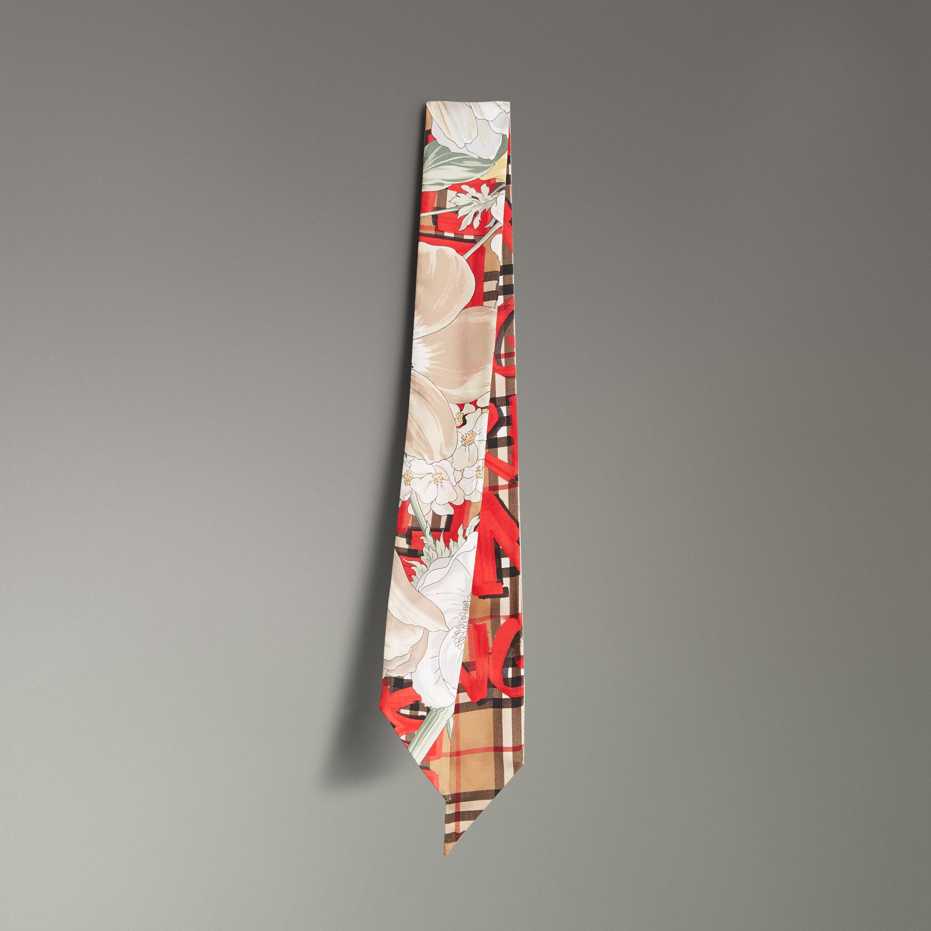 Graffiti Archive Scarf Print Silk Skinny Scarf in Bright Red - Women | Burberry United Kingdom - gallery image 0