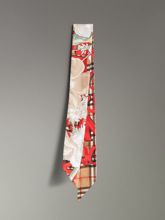 Graffiti Archive Scarf Print Silk Skinny Scarf in Bright Red