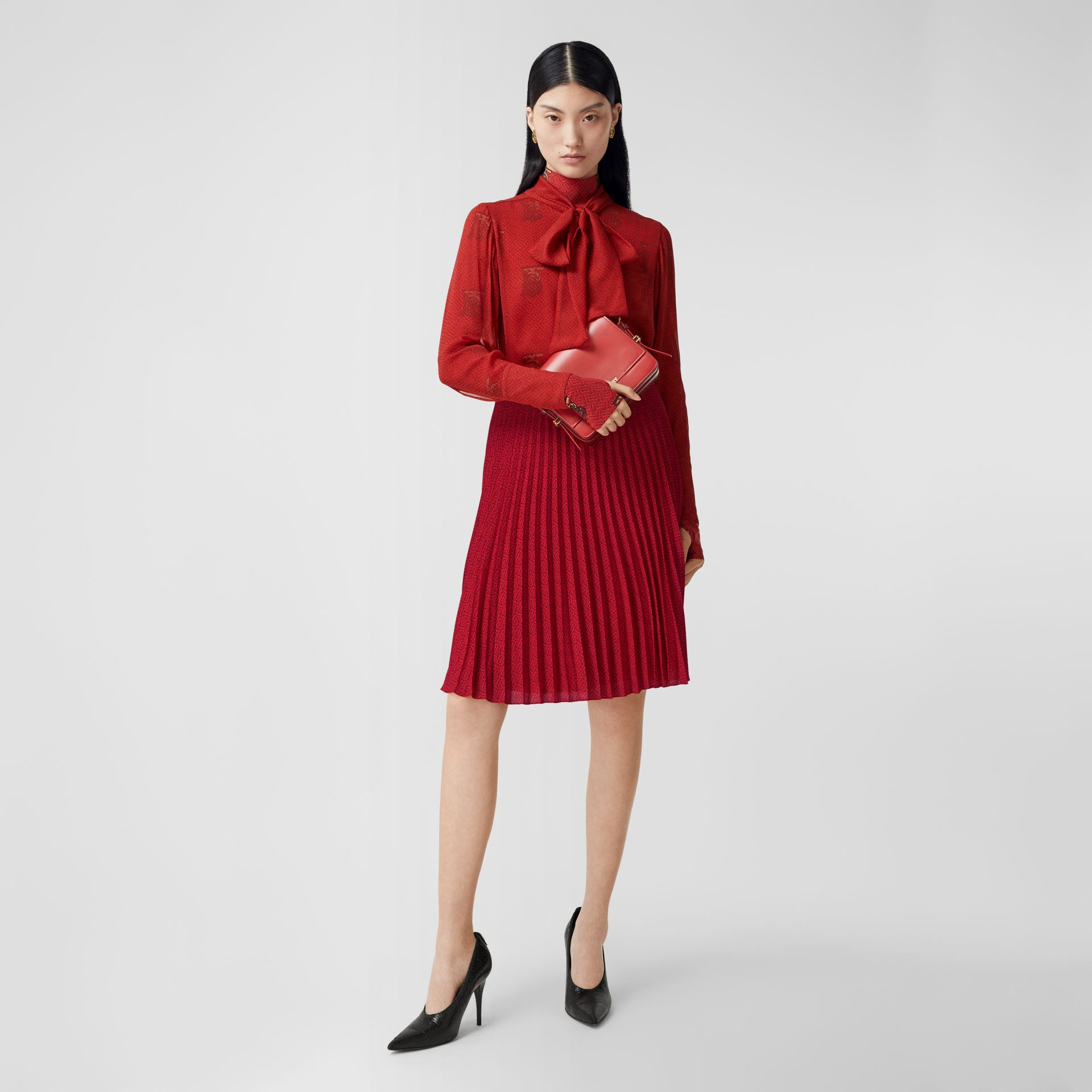 Monogram Print Pleated Skirt in Bright Red - Women | Burberry - gallery image 0