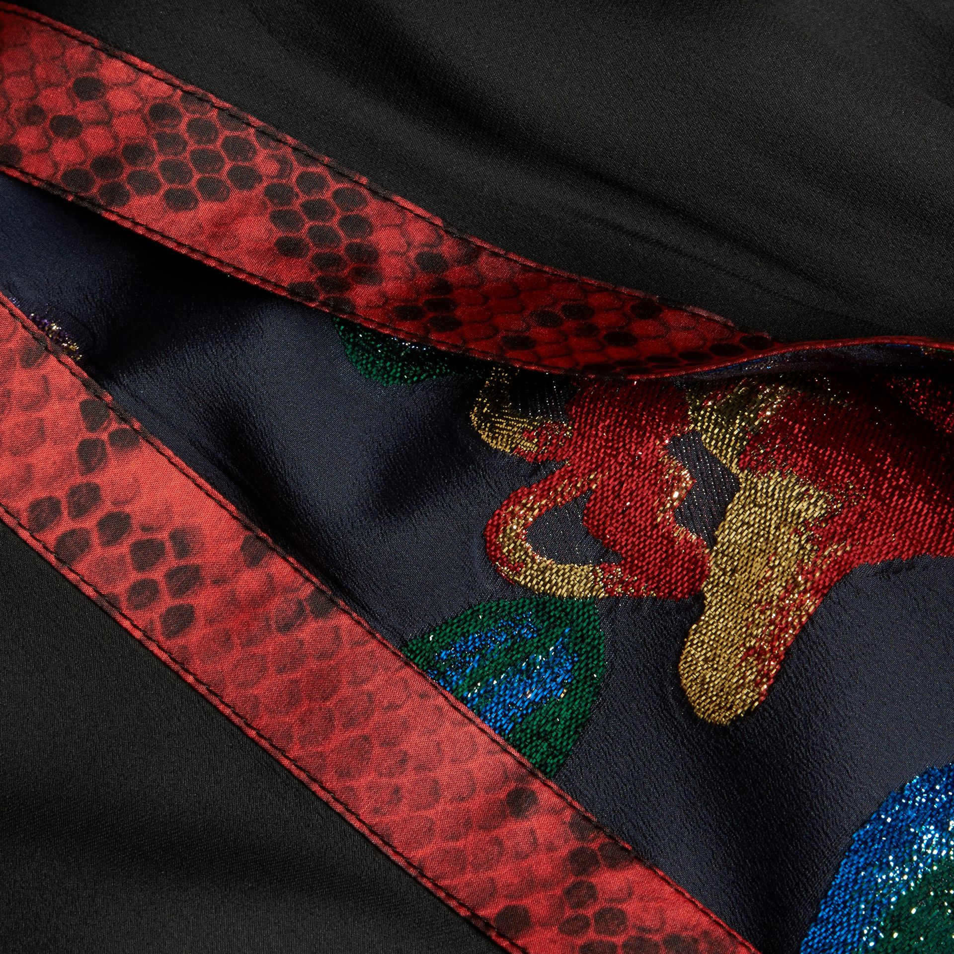 Black Silk Dress with Floral and Python Print Panels - gallery image 2