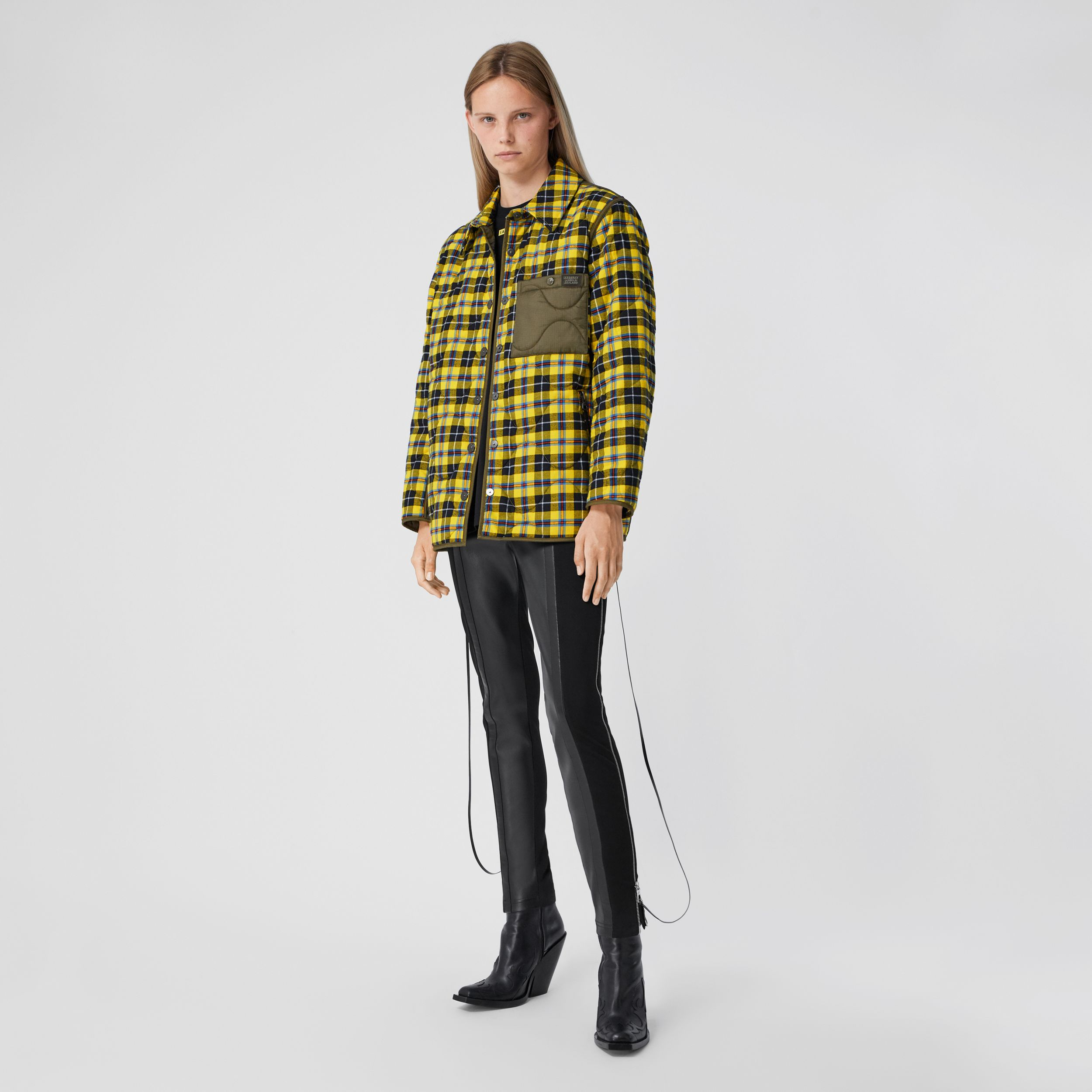 Check Cotton and Quilted Nylon Overshirt - Women | Burberry - 1