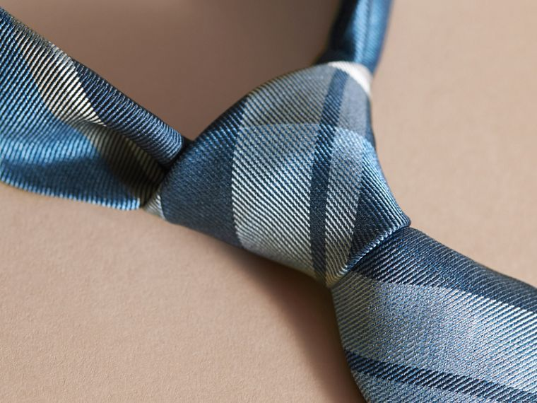 Modern Cut Check Jacquard Silk Tie in Mineral Blue - cell image 1