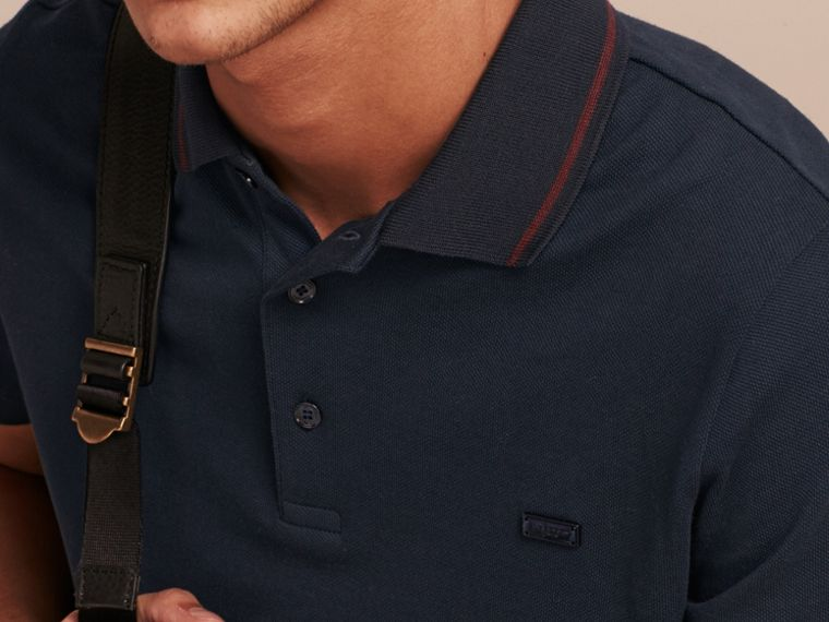 Navy/mahogany red Contrast Trim Cotton Piqué Polo Shirt Navy/mahogany Red - cell image 4