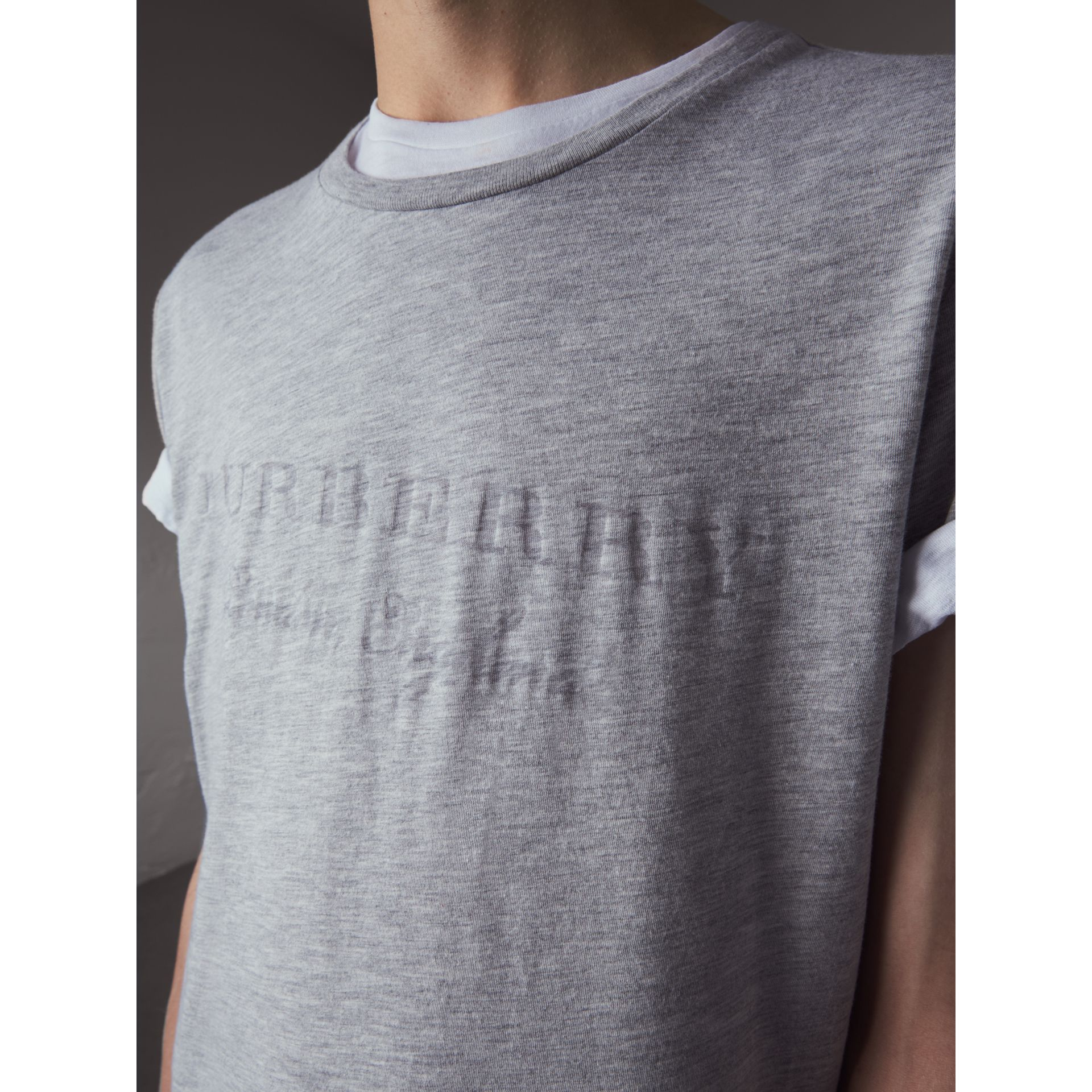 Devoré Cotton Jersey T-shirt in Pale Grey Melange - Men | Burberry - gallery image 2