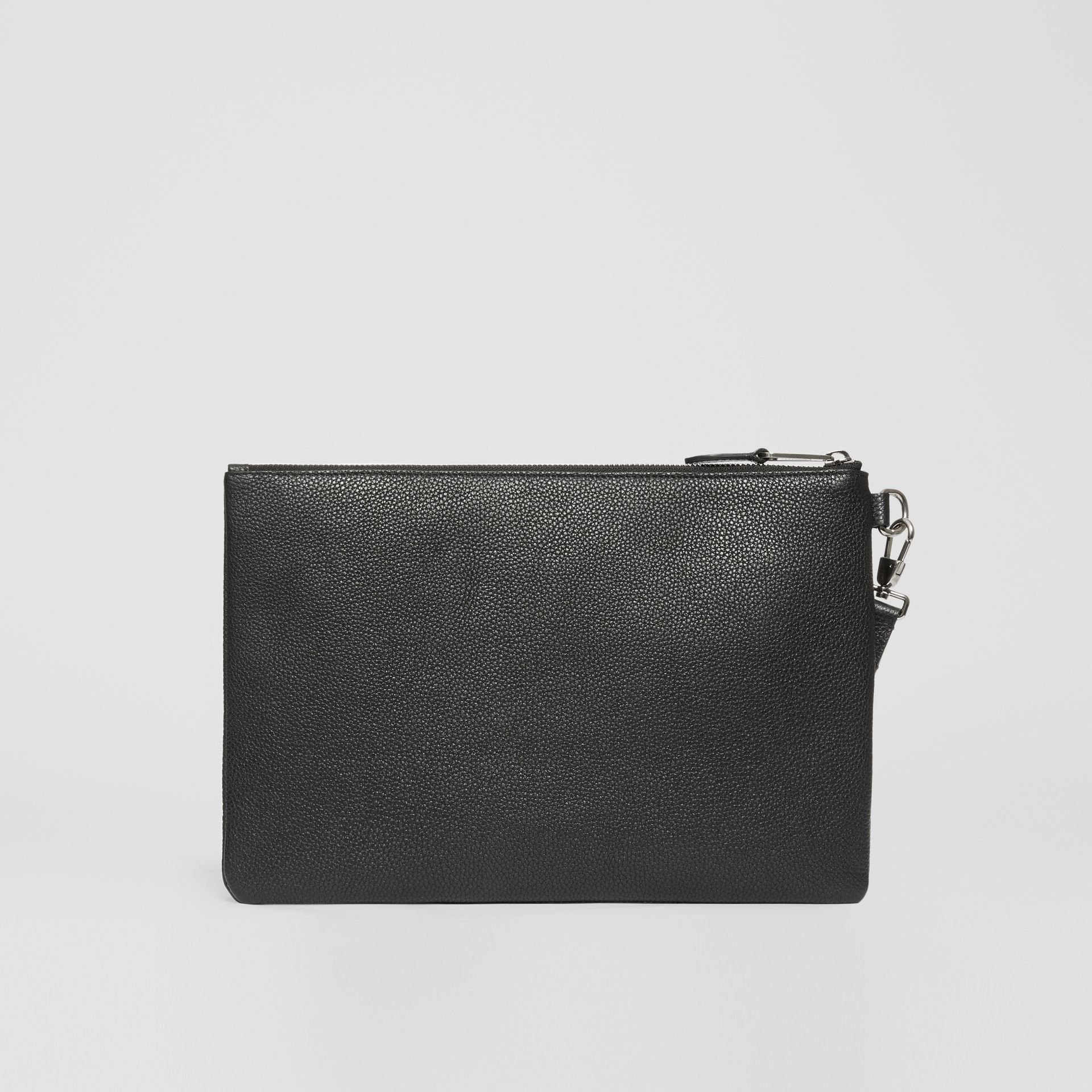 Logo Graphic Grainy Leather Zip Pouch in Black - Men   Burberry United Kingdom - gallery image 7