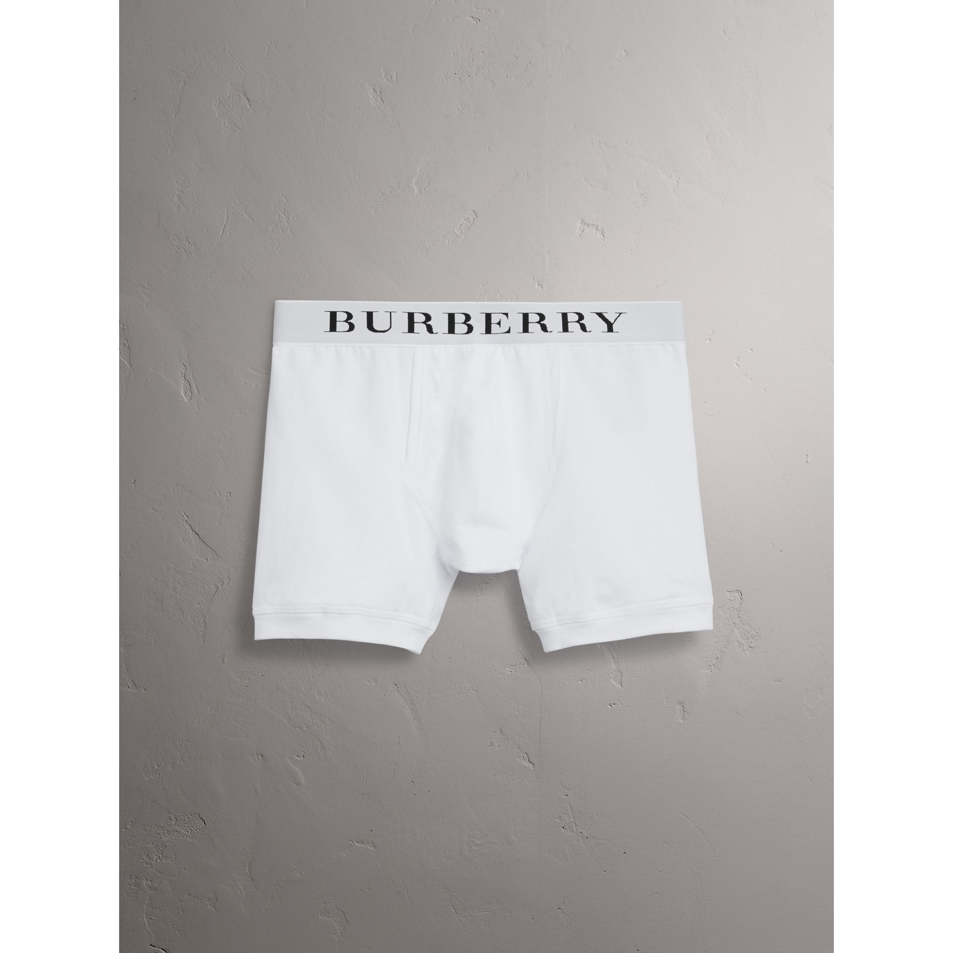 Stretch Cotton Boxer Shorts in White - Men | Burberry - gallery image 4