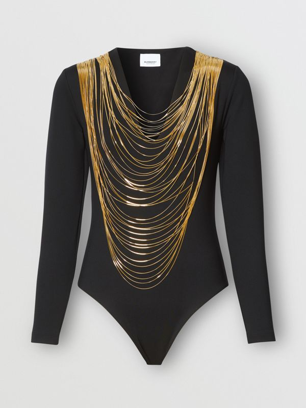 Chain Detail Stretch Jersey Bodysuit in Black - Women | Burberry - cell image 3