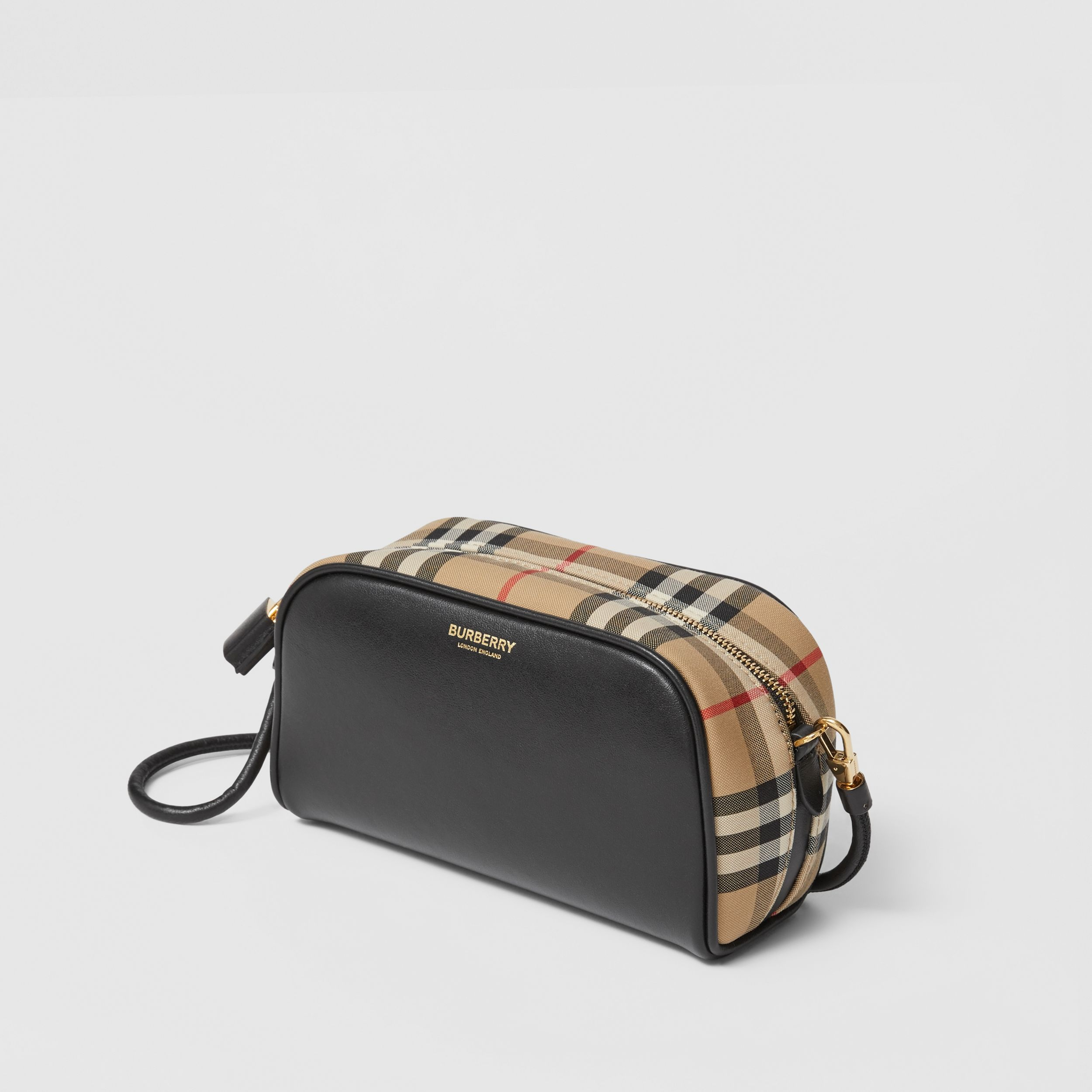 Leather and Vintage Check Half Cube Crossbody Bag in Archive Beige - Women | Burberry - 4