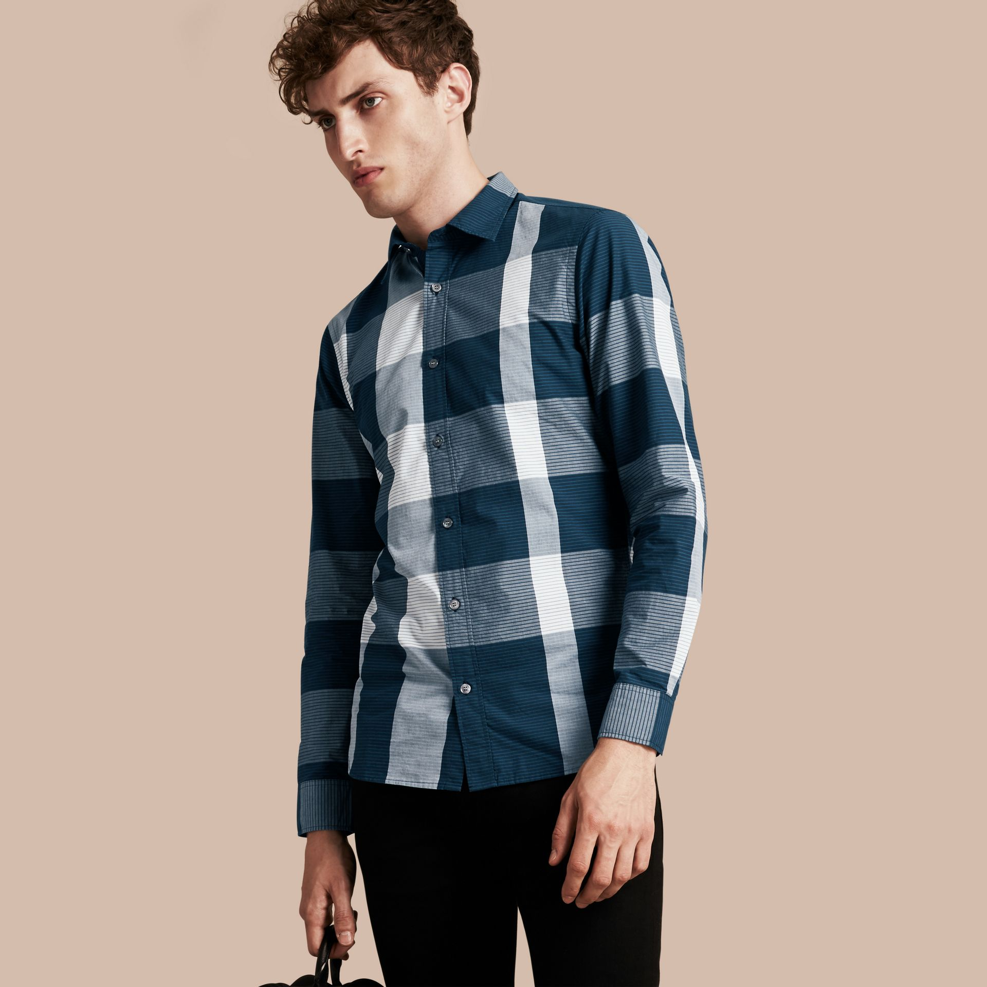 Bright steel blue Graphic Check Cotton Shirt Bright Steel Blue - gallery image 1