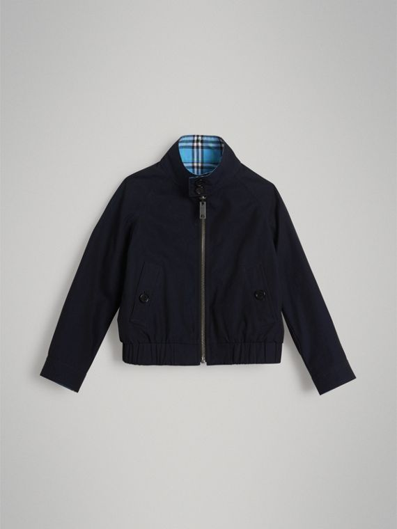 Reversible Check Cotton Harrington Jacket in Brilliant Navy