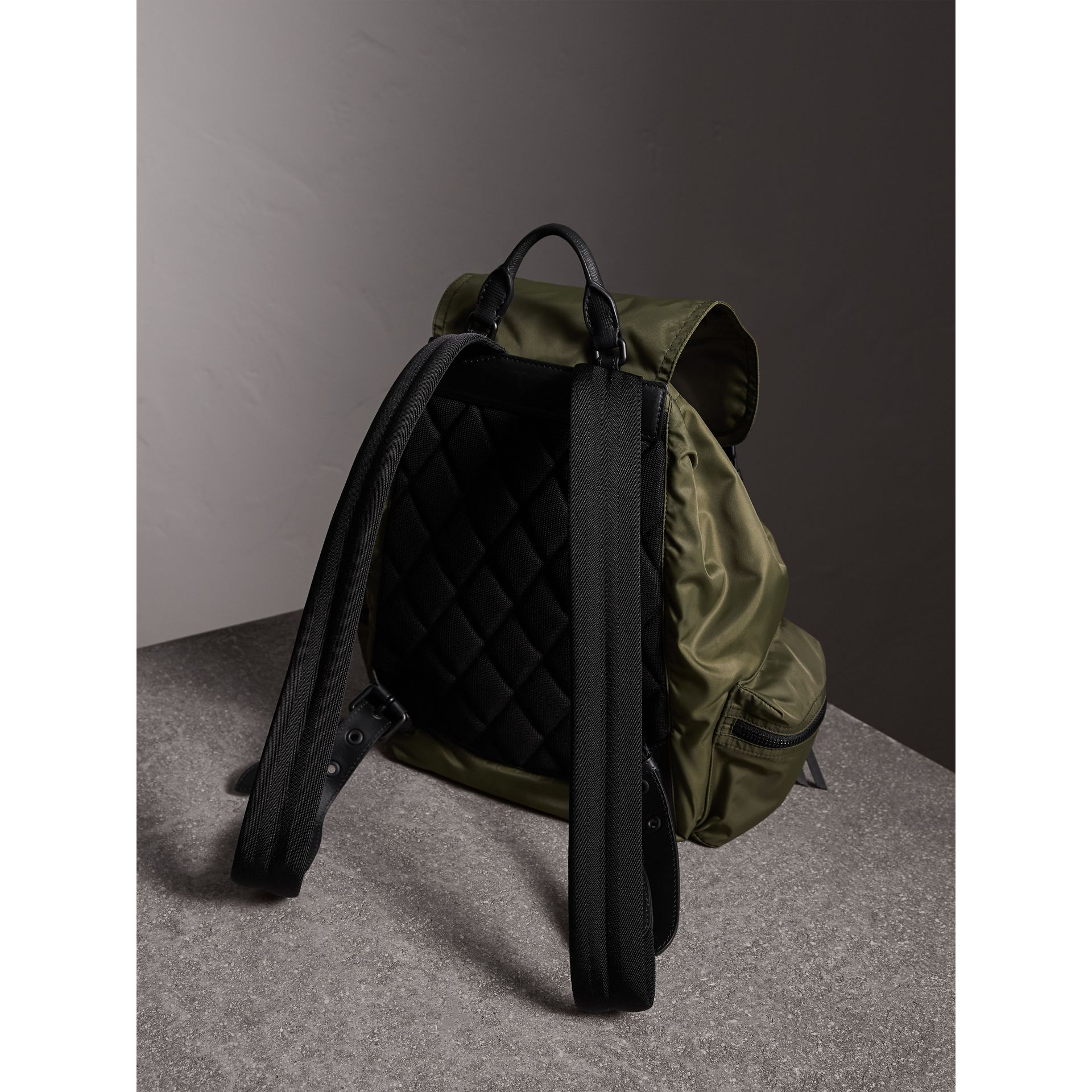 The Large Rucksack in Technical Nylon and Leather in Canvas Green - Men | Burberry United States - gallery image 4