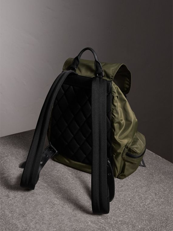 The Large Rucksack in Technical Nylon and Leather in Canvas Green - Men | Burberry - cell image 3