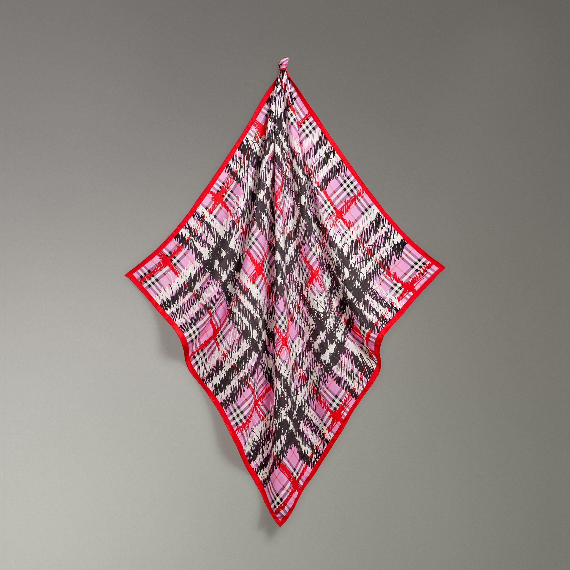 Scribble Check Silk Square Scarf in Fuchsia Pink - Women | Burberry - gallery image 4