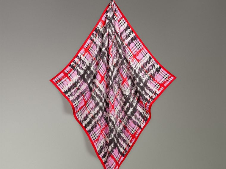 Scribble Check Silk Square Scarf in Fuchsia Pink - Women | Burberry - cell image 4