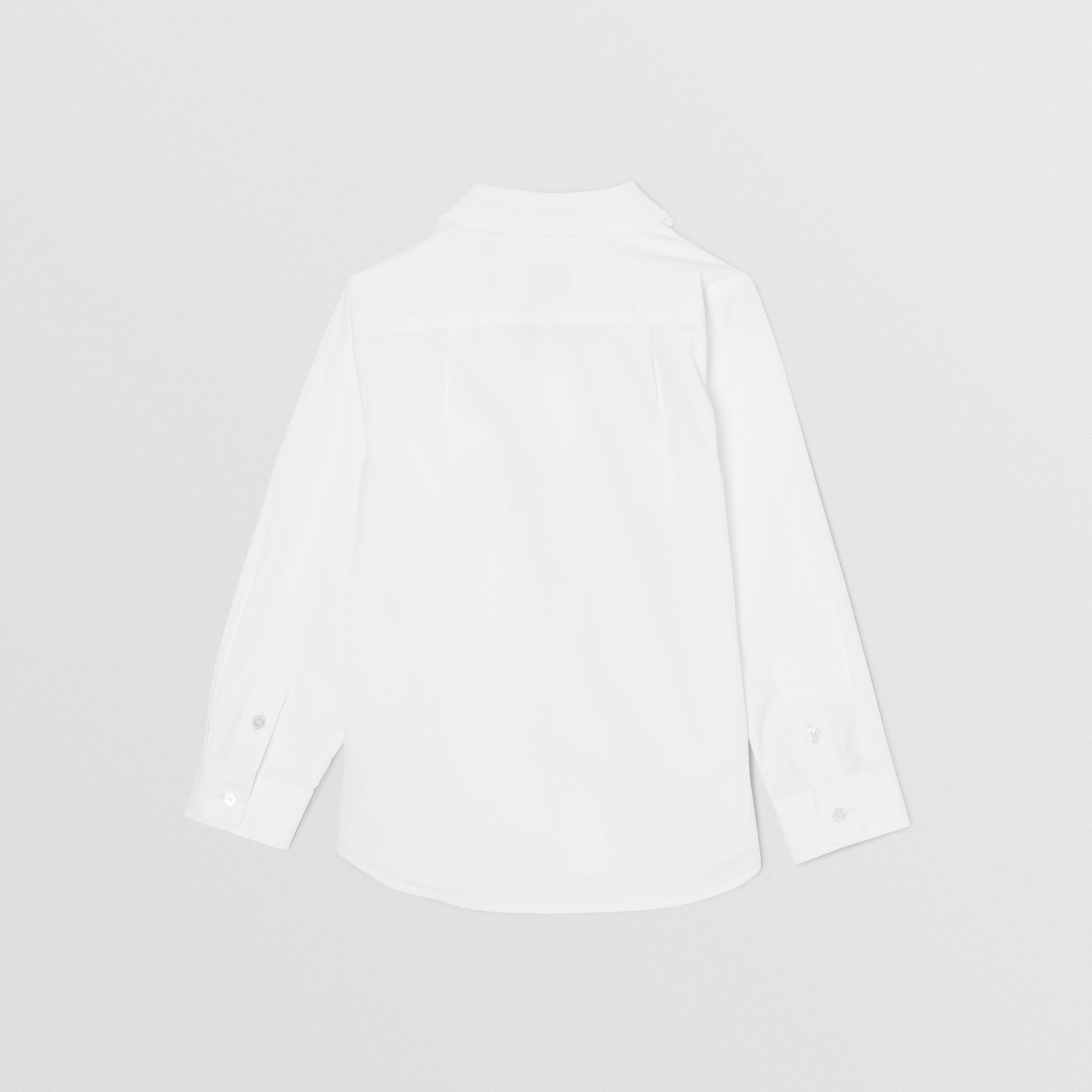 Icon Stripe Trim Stretch Cotton Shirt in White | Burberry - 4
