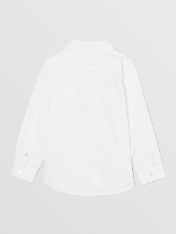 Icon Stripe Trim Stretch Cotton Shirt in White | Burberry United States - cell image 3