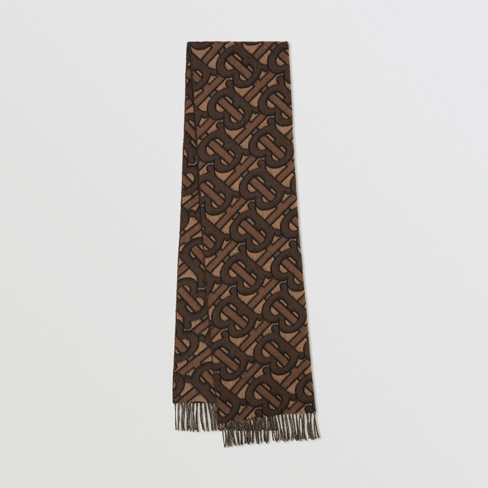 Monogram Cashmere Jacquard Scarf in Dark Mocha | Burberry - gallery image 0