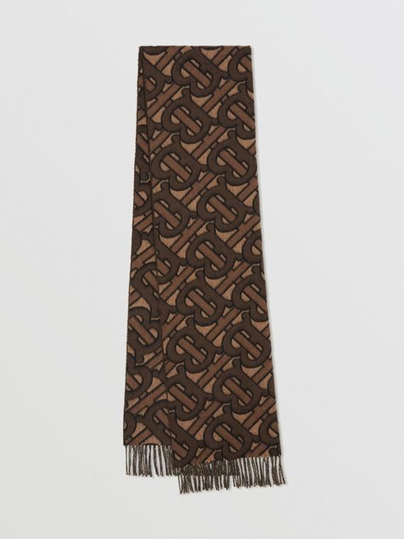 Cachecol de cashmere com monograma em jacquard (Mocha Escuro)